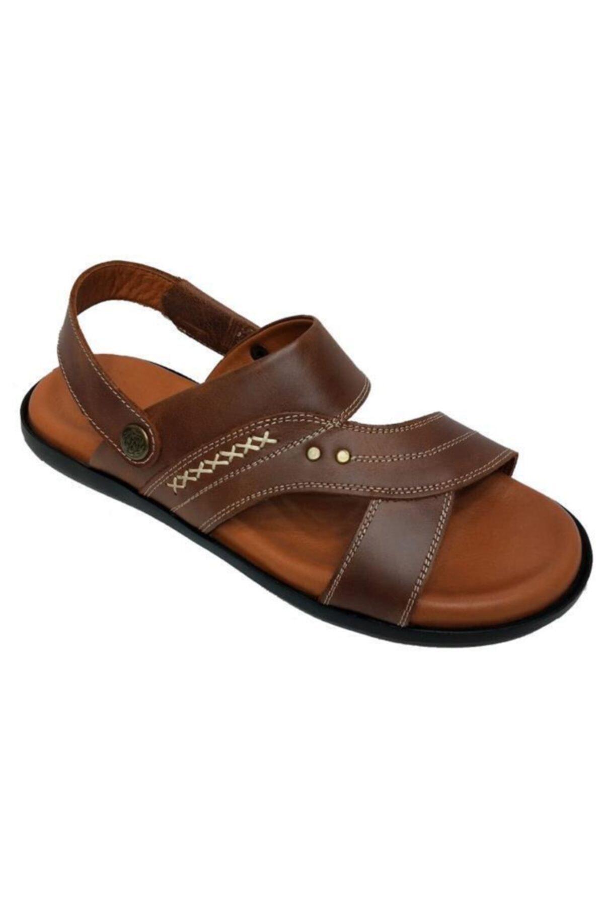 Üçel Erkek Kahverengi Hakiki Deri Ortopedik Sandalet 1