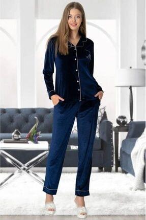 Mecit Kadın Lacivert 5326 Kadife Önden Düğmeli Pijama Takımı