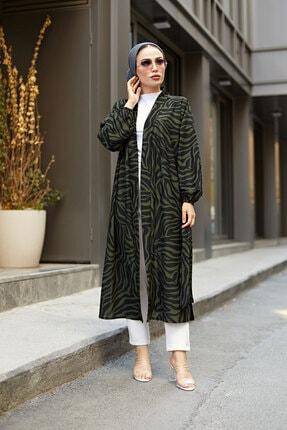 Elifnur Kadın Haki Desenli Kimono 8889-10