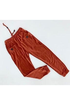 X-Joy Kız Çocuk Kiremit Ön Cepli Düğmeli Kadife Pantolon Tayt