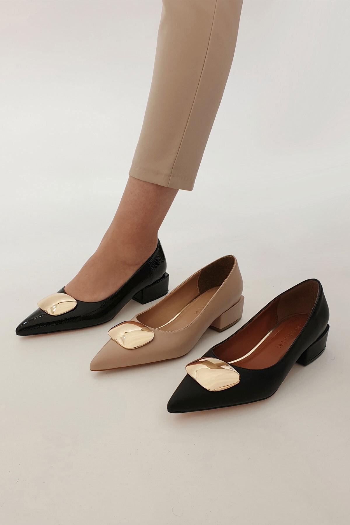 Marjin Kadın Linva Günlük Klasik Topuklu Ayakkabısiyah Rugan 2