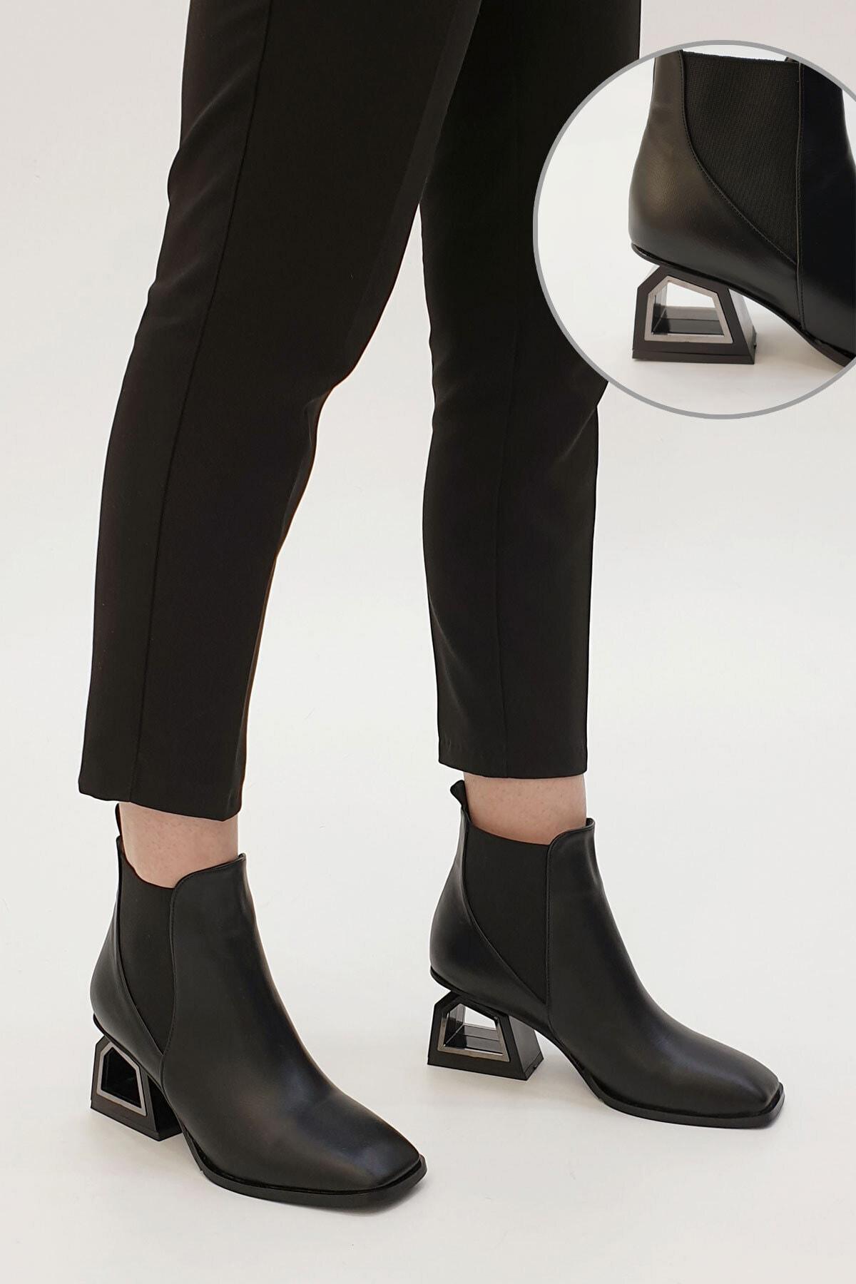 Marjin Kadın Siyah Ferlos Lastikli Topuklu Bot 1