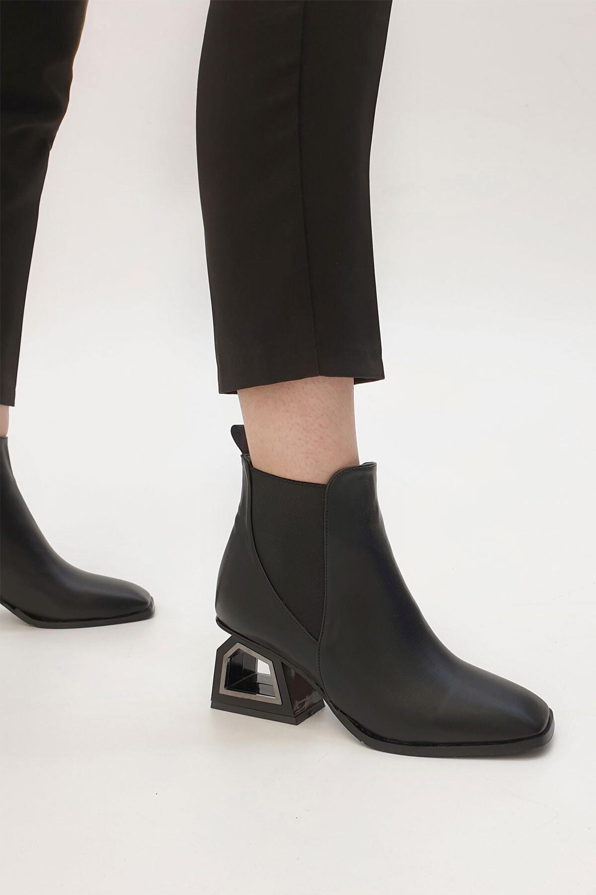 Marjin Kadın Siyah Ferlos Lastikli Topuklu Bot 2