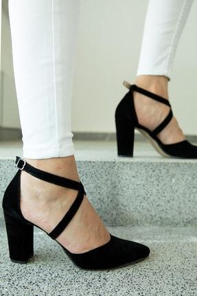 Milanoor Çapraz Bağlamalı Süet Yüksek Topuklu Ayakkabı