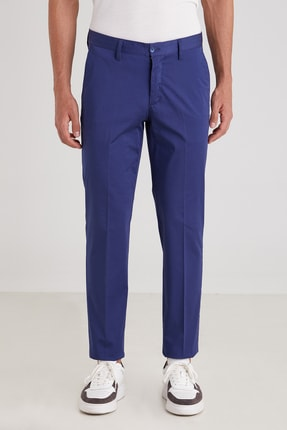 Dufy Parlament Düz Pamuklu Saten Erkek Pantolon - Regular Fıt