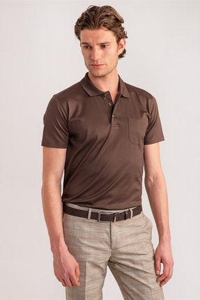 Dufy Erkek Kahverengi Düz Polo Yaka Merserize Pamuk T-shirt