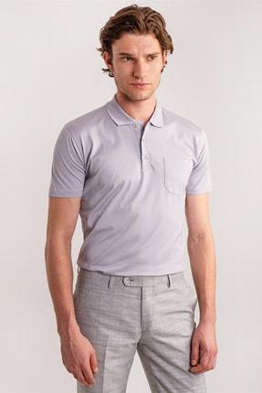 Dufy Erkek Gri Düz Polo Yaka Merserize Pamuk T-shirt