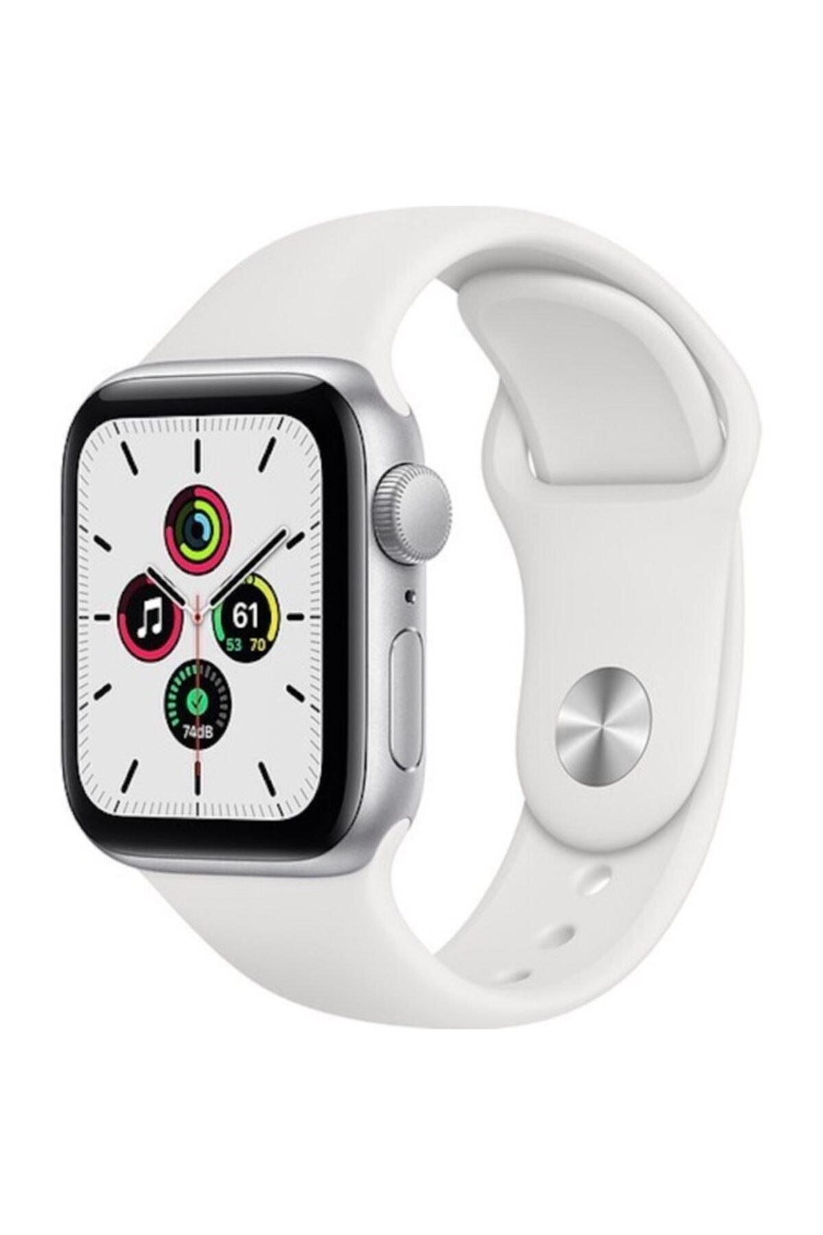 Apple Watch Se Gps 40 Mm Gümüş Rengi Alüminyum Kasa Ve Beyaz Spor Kordon 1