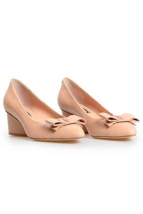 Flower Kadın Nude Deri Fiyonk Detaylı Topuklu Ayakkabı