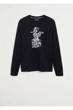 MANGO Man Erkek Siyah Warner Bros Baskılı Pamuk Karışımlı Tişört 67054394