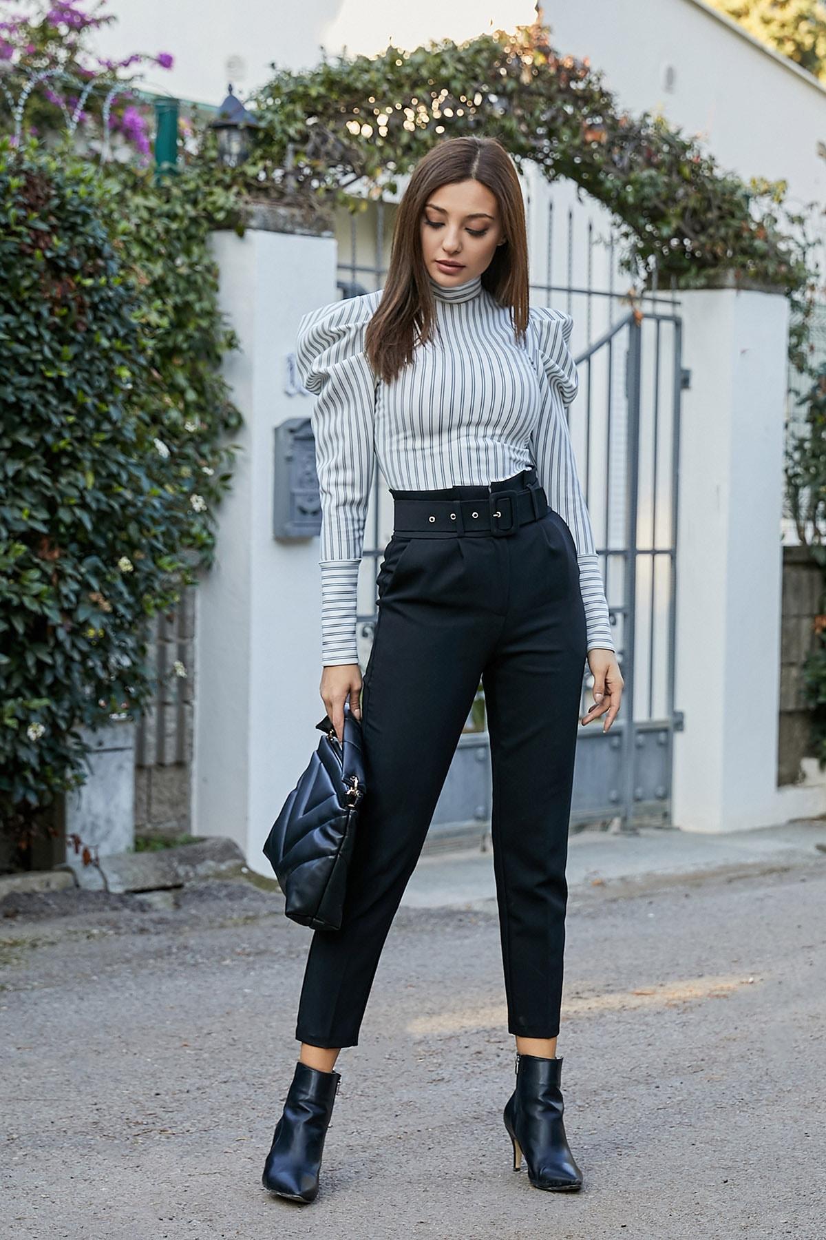 Sateen Kadın Siyah Kemerli Yüksek Bel Cigarette Pantolon 2