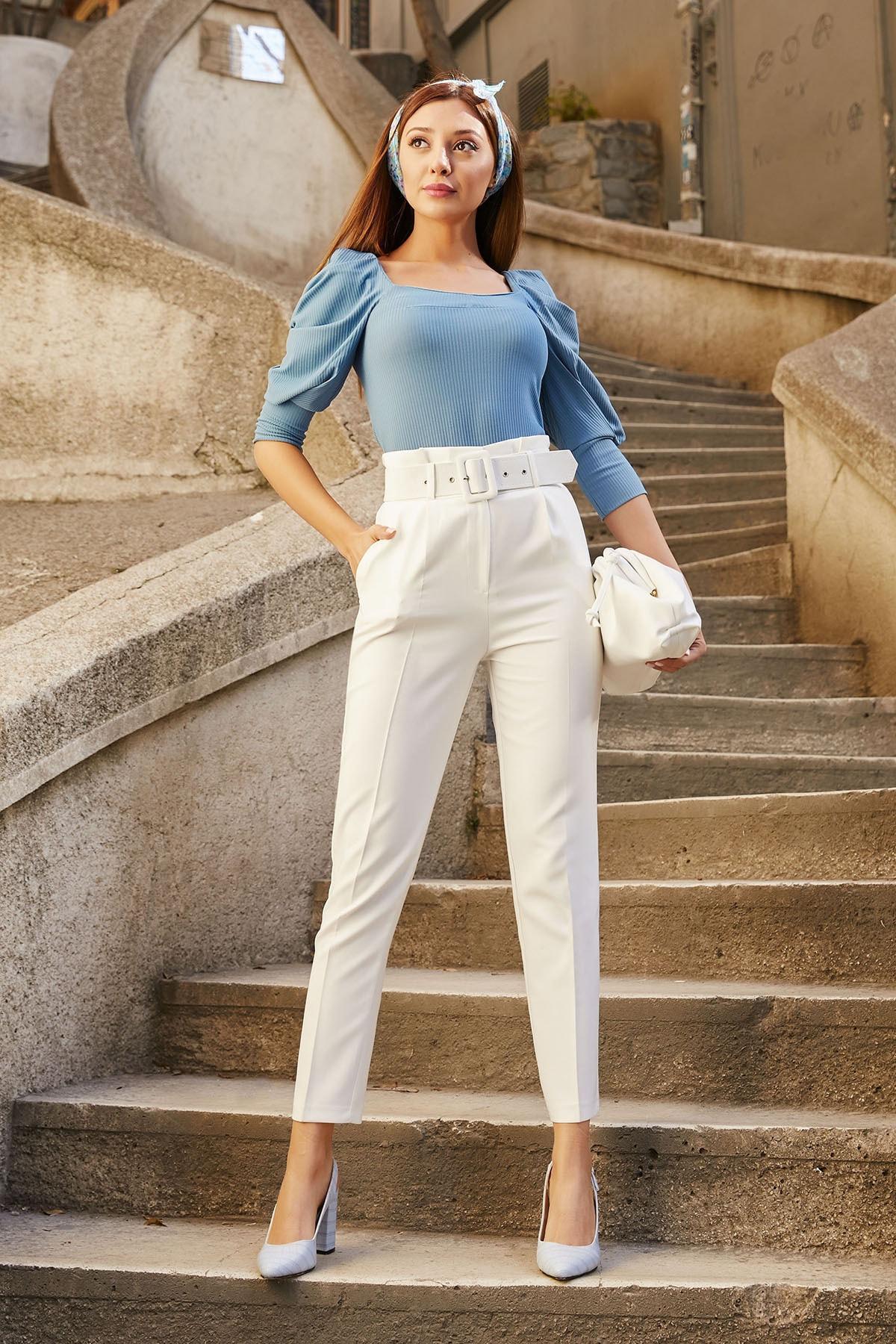 Sateen Kadın Ekru Yüksek Bel Kemerli Pantolon 2