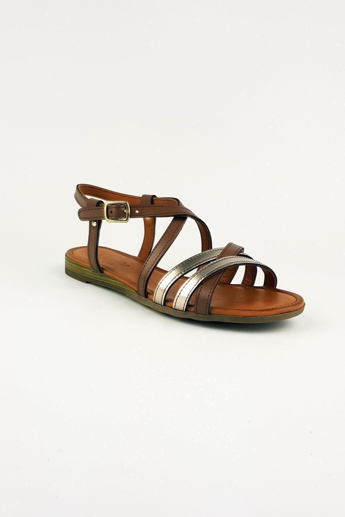Bellacomfort Shoes Kadın Kahverengi Hakiki Deri Sütlü  Sandalet A001SK 1