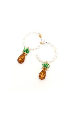 Mercan Ananas Taşlı Küpe