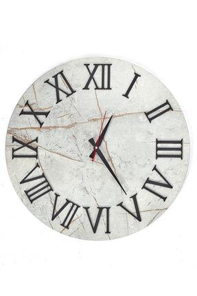 bluecape Beyaz Mermer Desenli Duvar Saati 50 cm