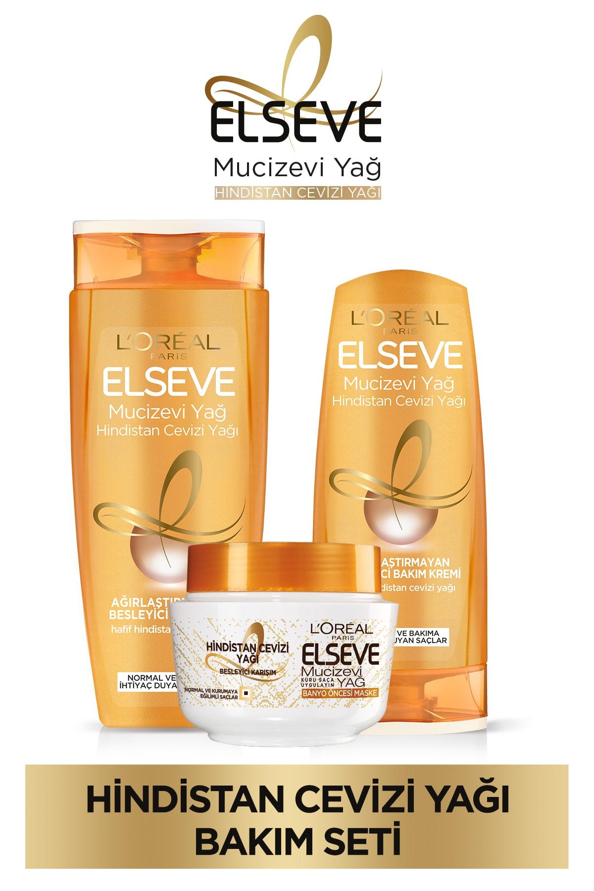 ELSEVE Mucizevi Hindistan Cevizi Yağı Besleyici Şampuan 450ml & Saç Bakım Kremi 360 Ml& Saç Maskesi 1