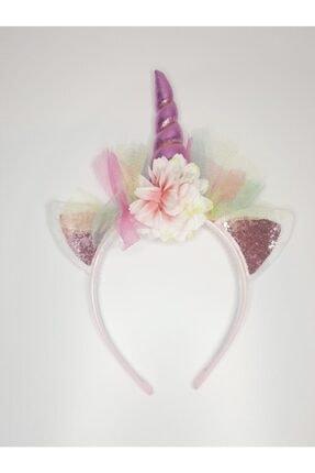 Trendstyle Kız Çocuk Çiçekli Unicorn Taç Özel Tasarım Doğum Günü Saç Aksesuarı