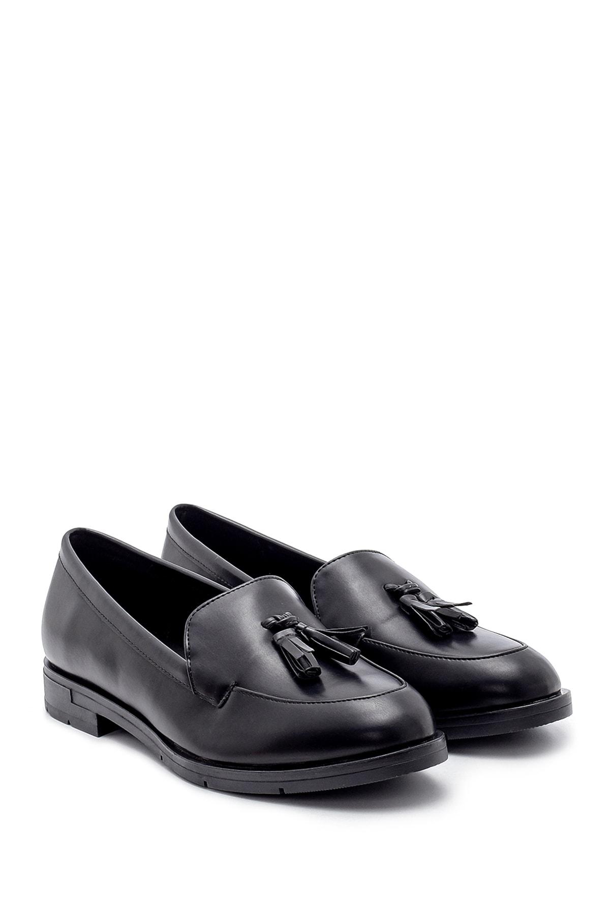Derimod Kadın Siyah Püskül Detaylı Loafer Ayakkabı 2