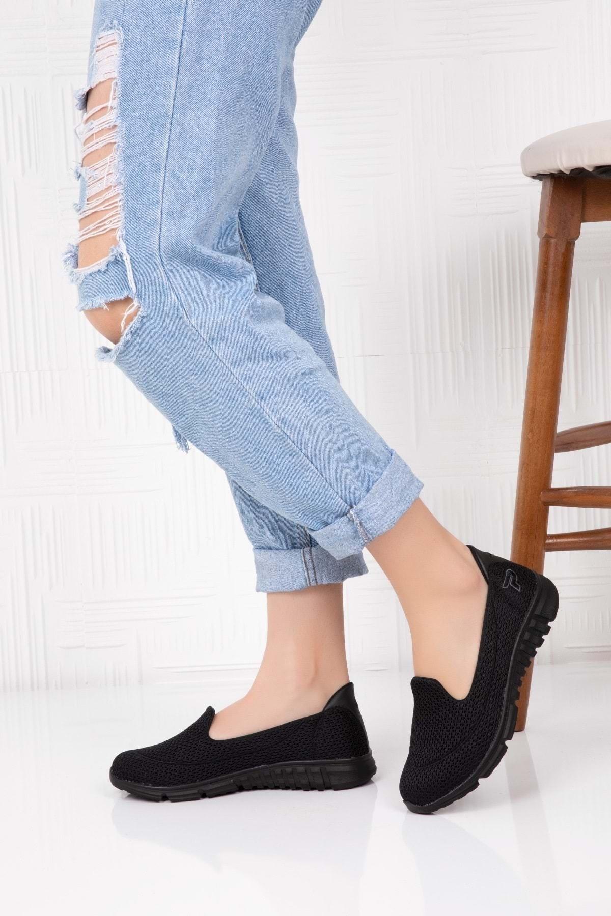 Gondol Kadın Siyah Ortopedik Memory Taban Günlük Ayakkabı Çpç.001 1