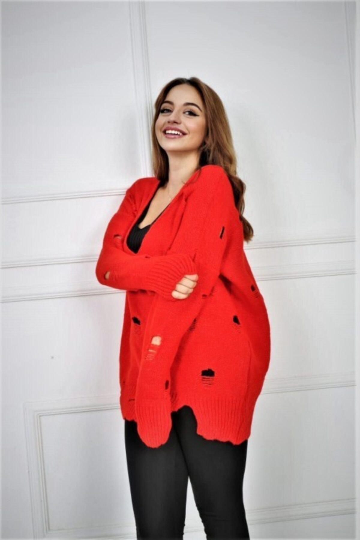 Pezkovi Kadın Kırmızı Yırtmaçlı Triko Kazak Ar040 1