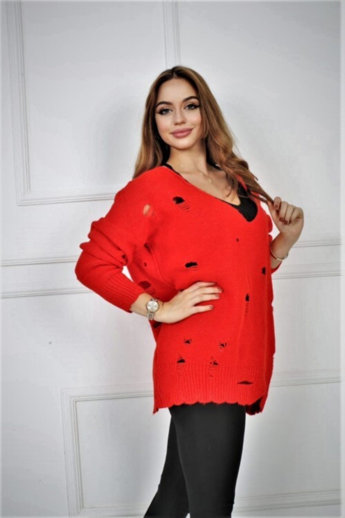 Pezkovi Kadın Kırmızı Yırtmaçlı Triko Kazak Ar040 2