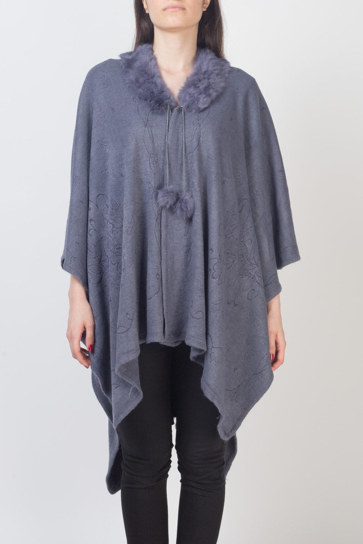 Gezgin tekstil ve aksesuar Kadın Gri Panço 1