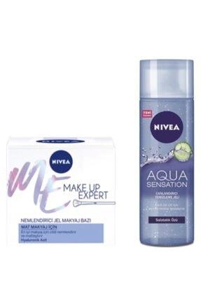 Nivea Make Up Expert Mat Nemlendirici Jel Makyaj Bazı 50 ml + Aqua Sensation Canlandırıcı Temizleme Jeli
