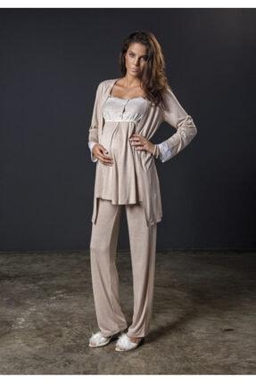 Bondy Kadın Sütlü Kahve Hamile Lohusa 3 Lü Pijama Sabahlık Takımı