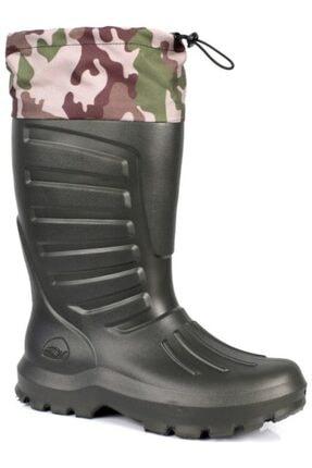 Sonimix Erkek Eva Çizme Yeşil Renk Termal Çoraplı 43