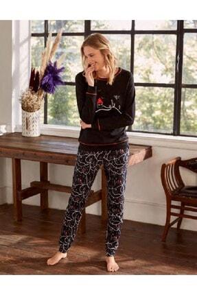 Eros Kadın Siyah Desenli Pijama Takım