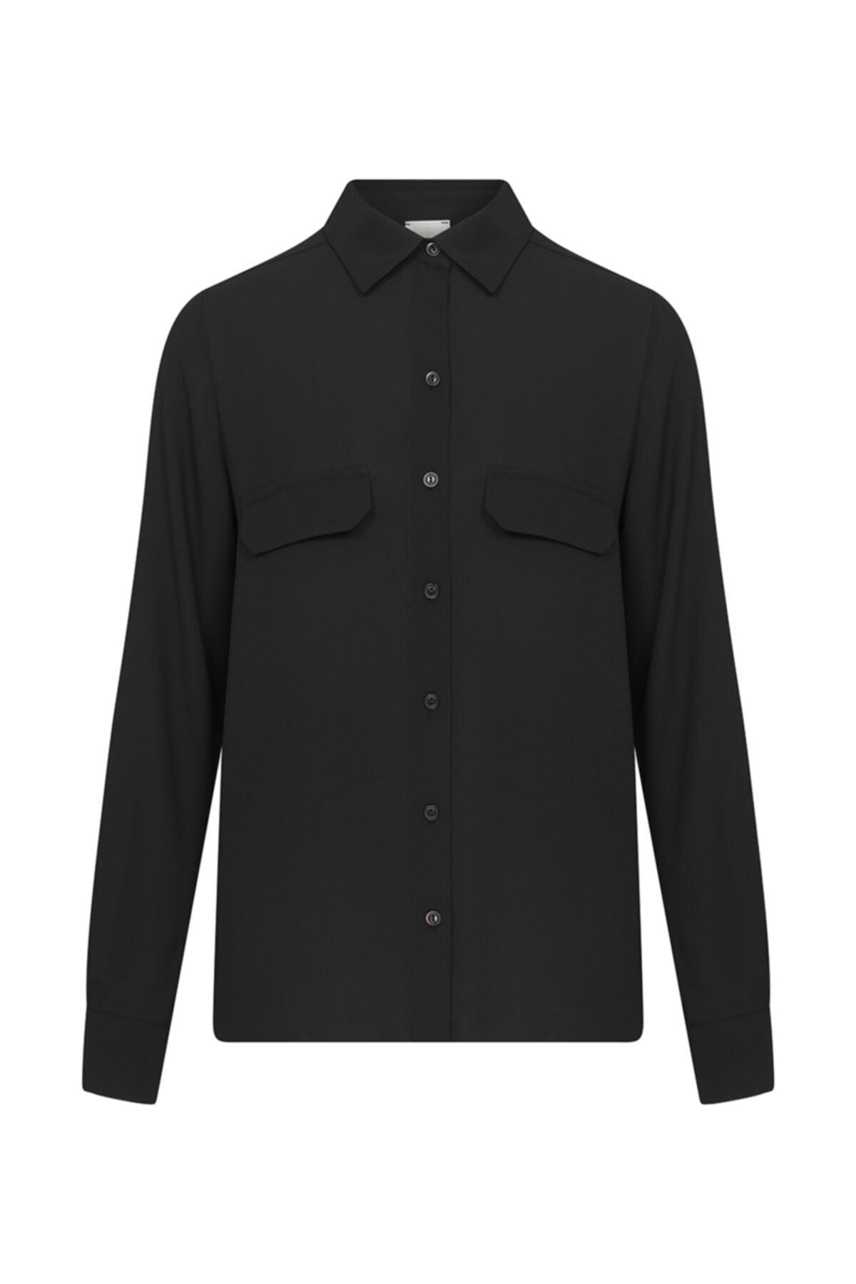 W Collection Kadın Siyah Cep Detaylı Gömlek 1
