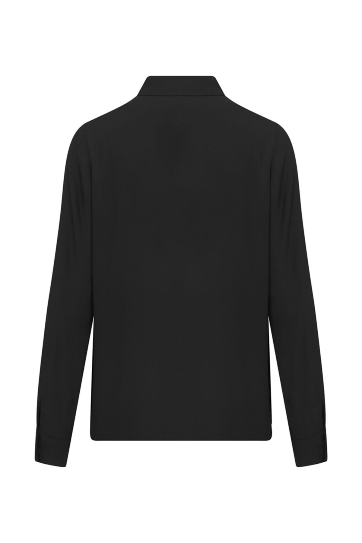 W Collection Kadın Siyah Cep Detaylı Gömlek 2