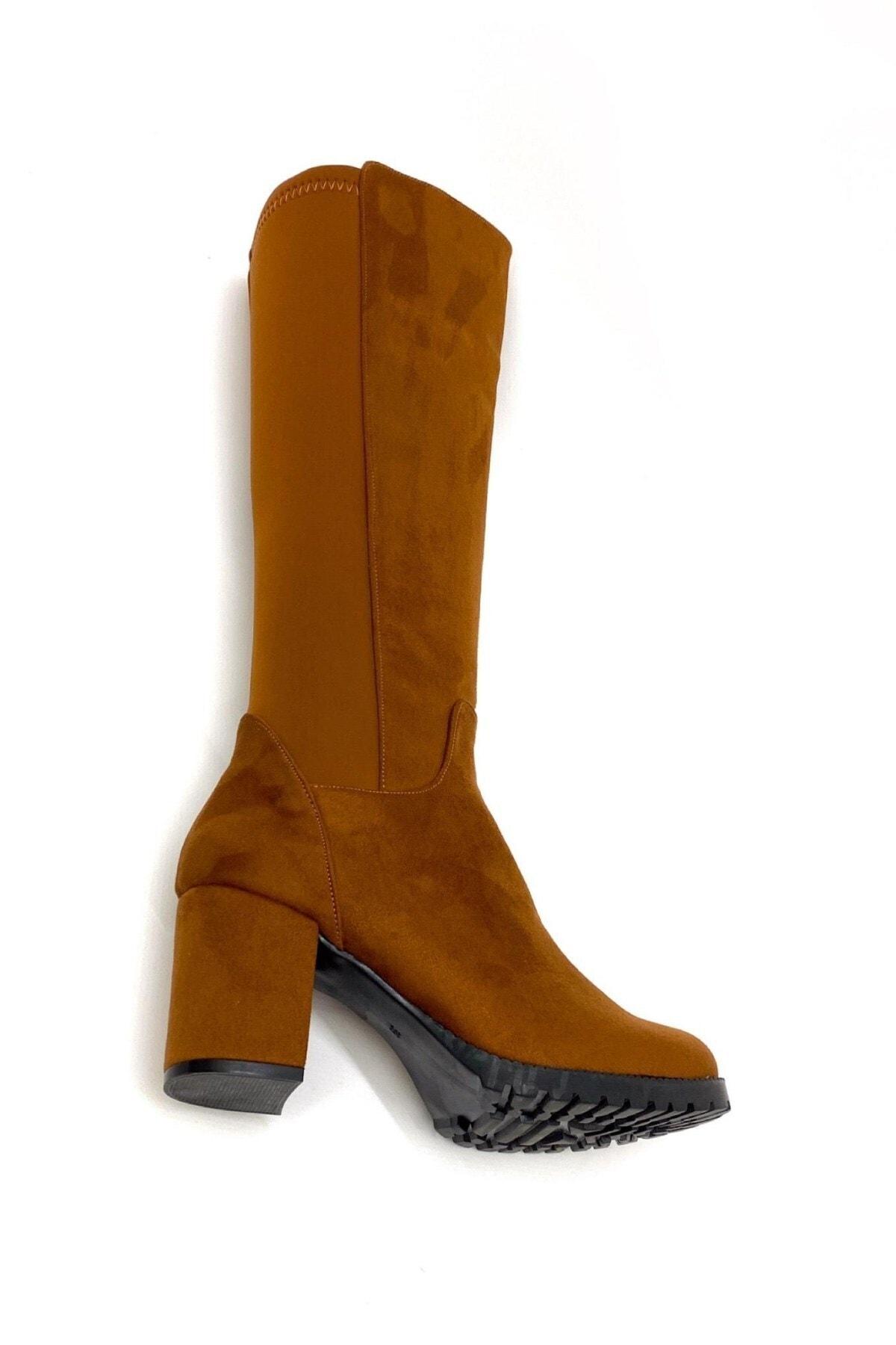 Stil Durağı 5 cm Topuklu Kalin Taban Sihirli Çizme Taba Suet 2