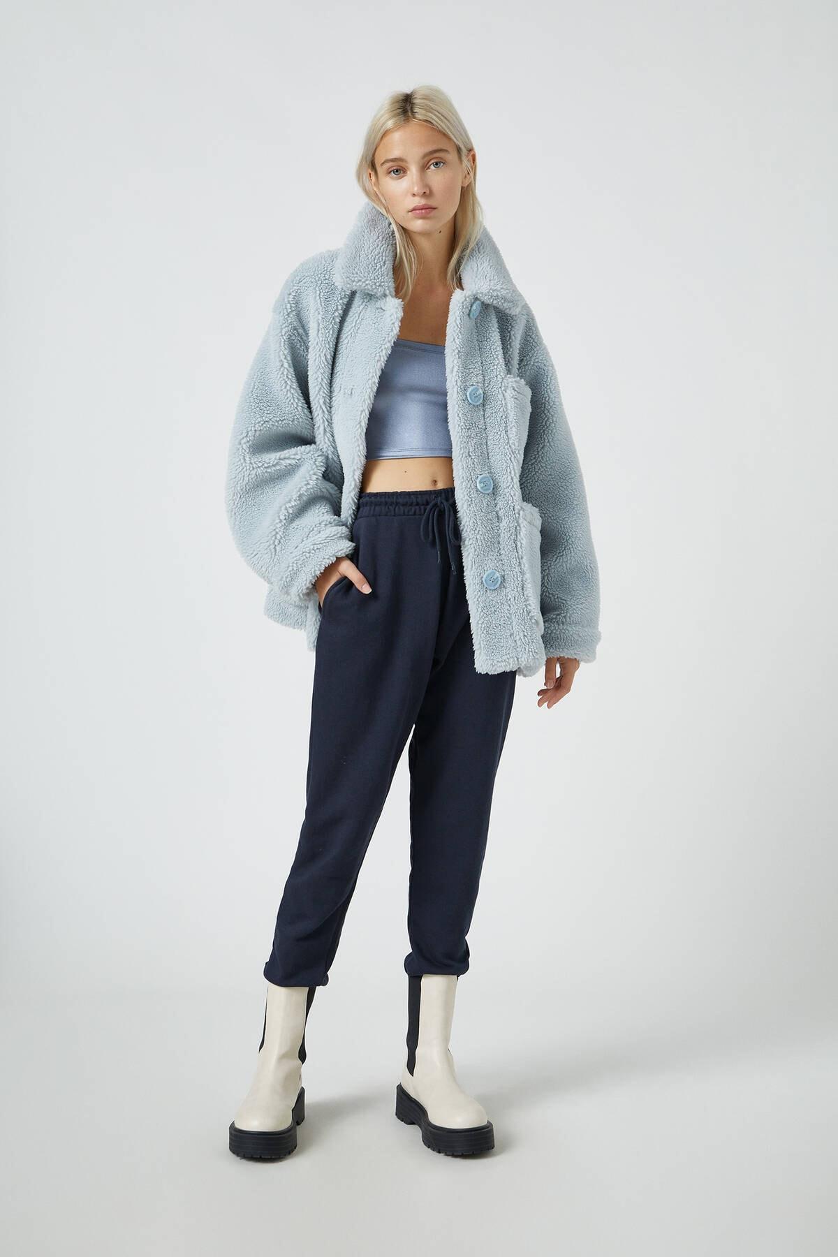 Pull & Bear Kadın Lacivert Elastik Paçalı Basic Jogger Pantolon 09678407 1
