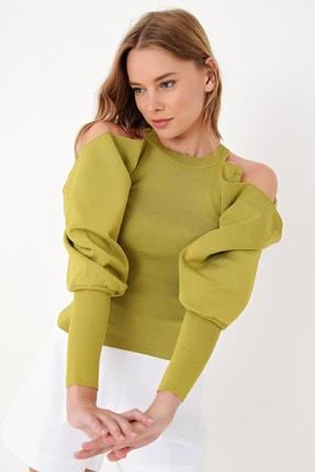 Trend Alaçatı Stili Kadın Olive Dekolteli Balon Kollu Triko Kazak ALC-X4999