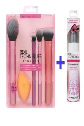 Real Techniques Everday Set + Temizleme Jeli Fırça