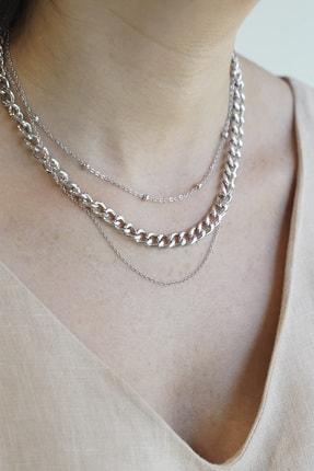 Marjin Kadın Zincir Detaylı Üçlü Gümüş Renkli Kombin Kolye