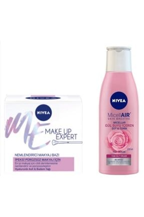 Nivea Make Up Pürüzsüz Nemlendirici Makyaj Bazı 50 ml ve Micellair Gül Suyu İçeren Süt Tonik 200 ml