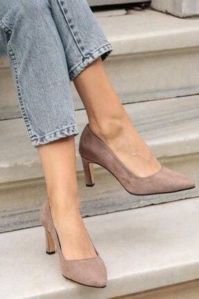 Mio Gusto Kadın Vizon Süet Topuklu Ayakkabı