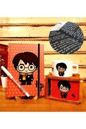 Hediye Deposu Harry Potter Siyah Yapraklı Anı Defteri Beyaz Kalem Ve Kupa Arkadaşa Hediye