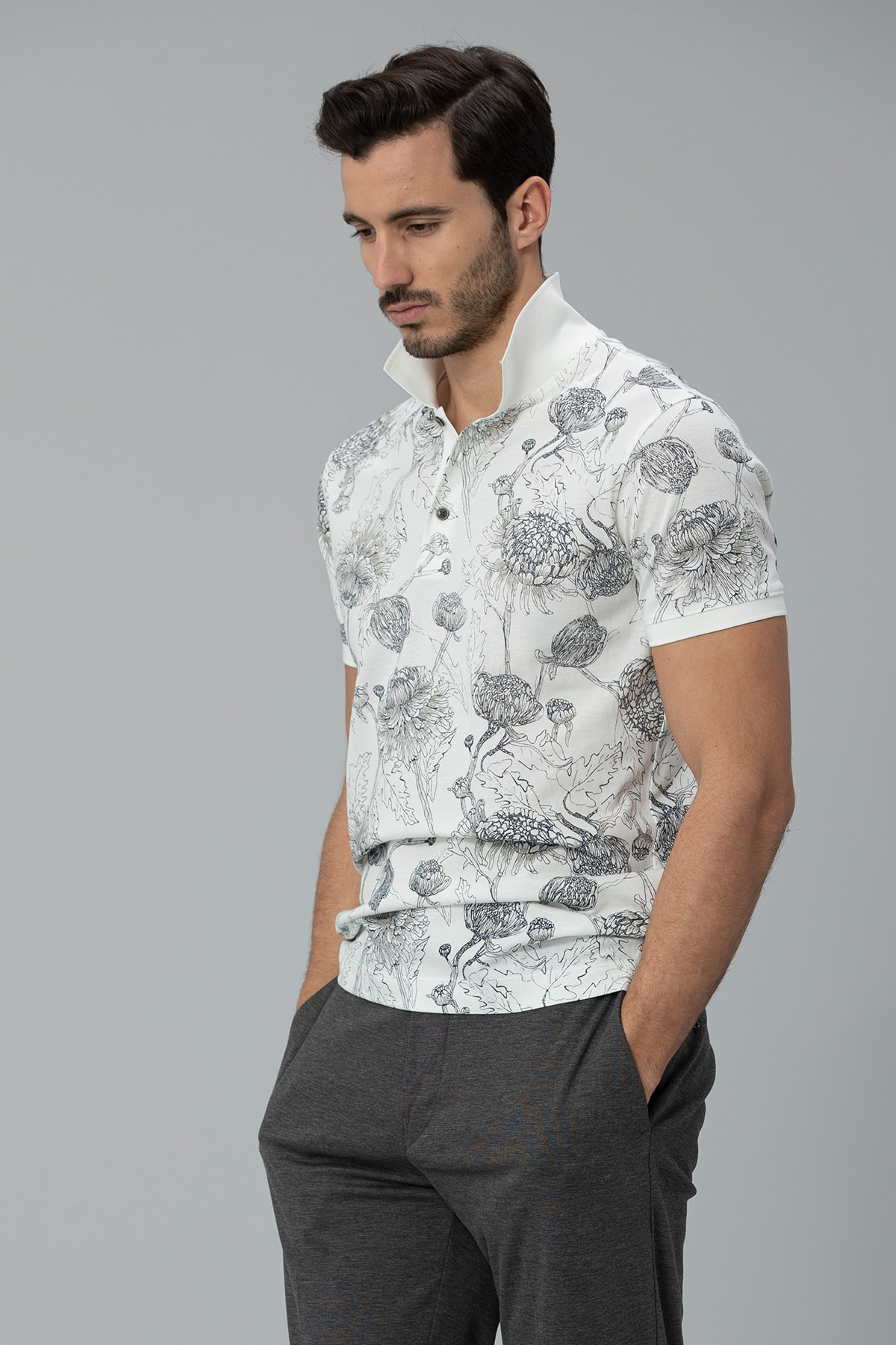 Lufian Capri Spor Polo T- Shirt Kırık Beyaz