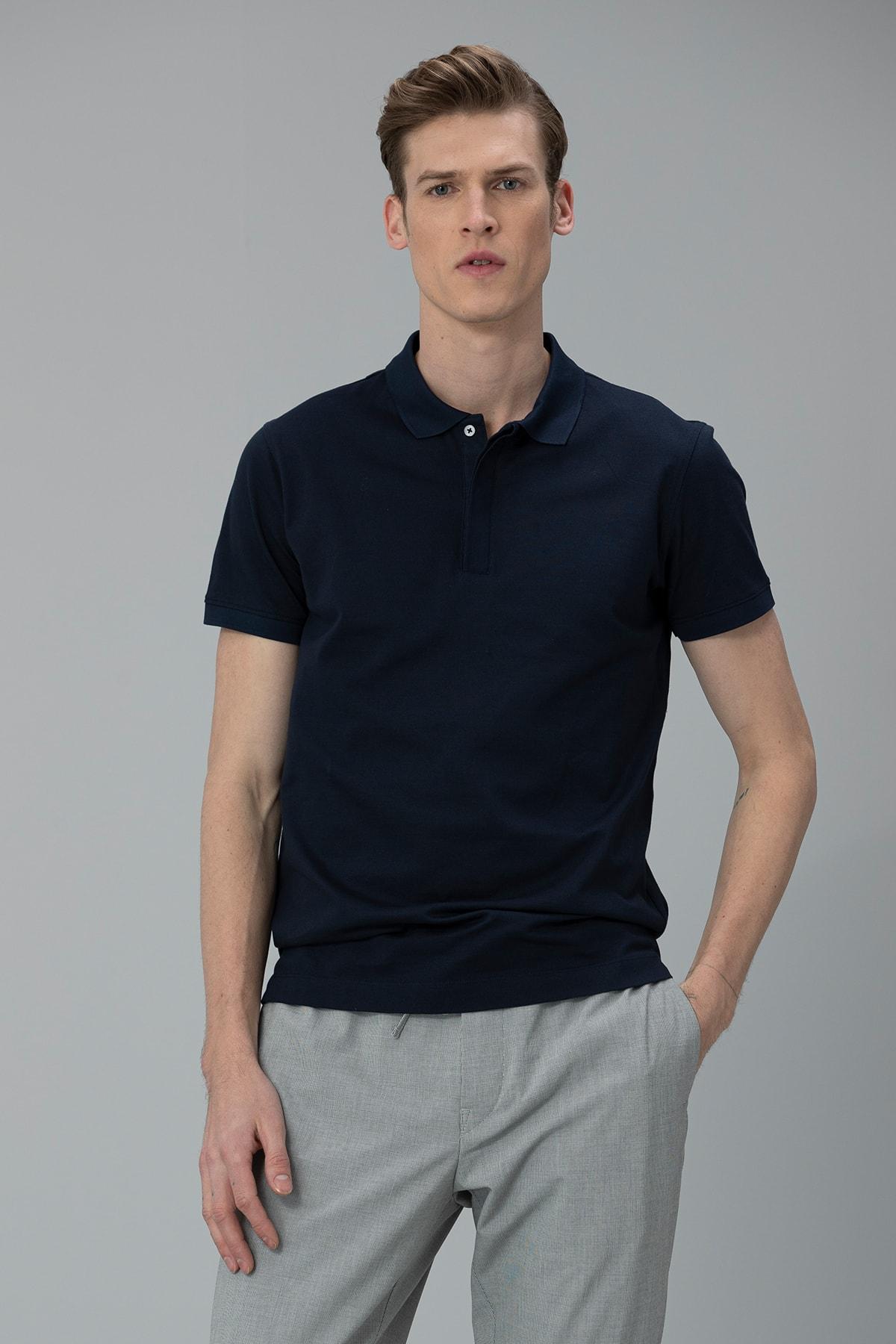 Lufian Biella Spor Polo T- Shirt Lacivert