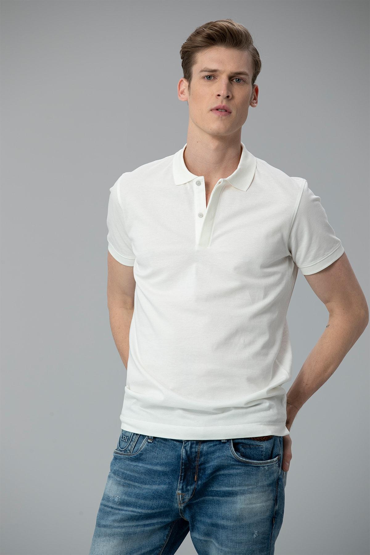 Lufian Biella Spor Polo T- Shirt Kırık Beyaz