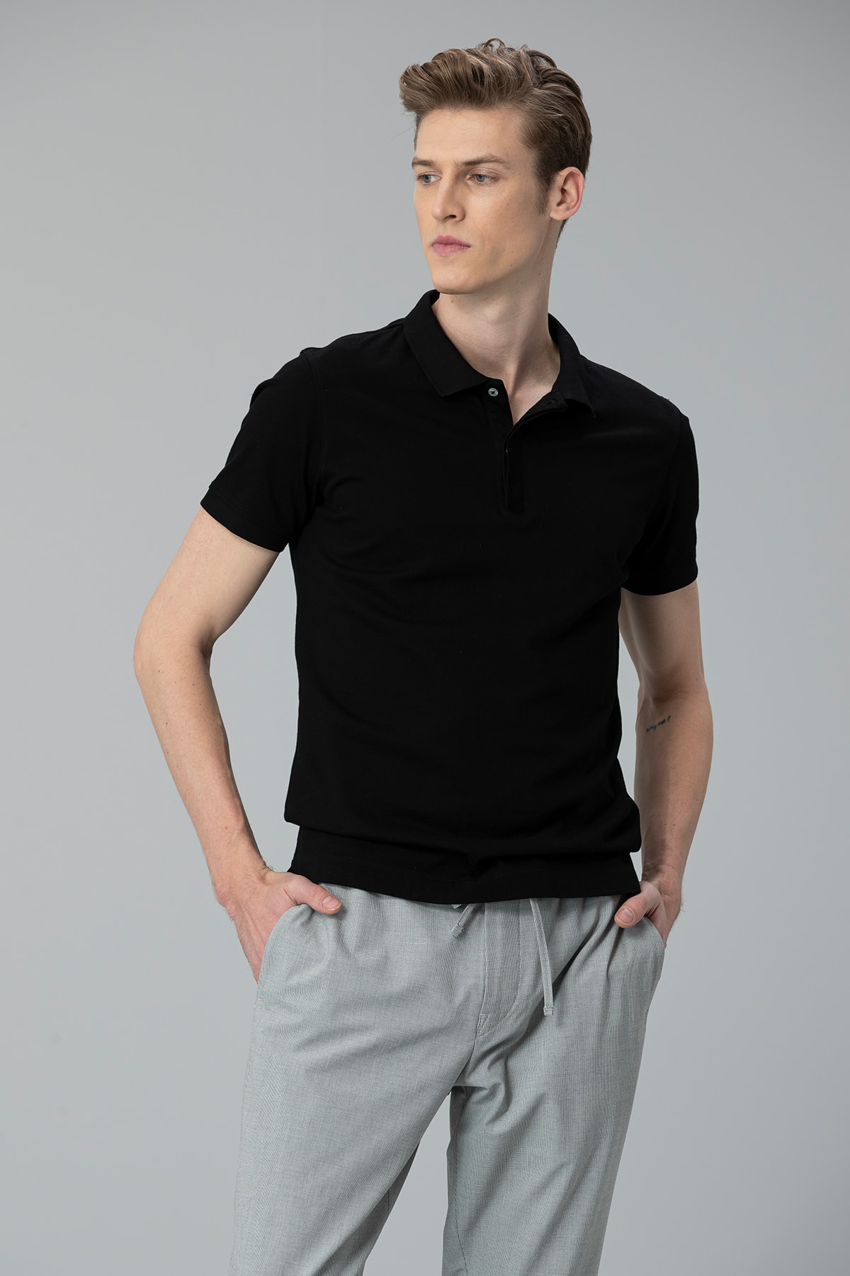 Lufian Biella Spor Polo T- Shirt Siyah