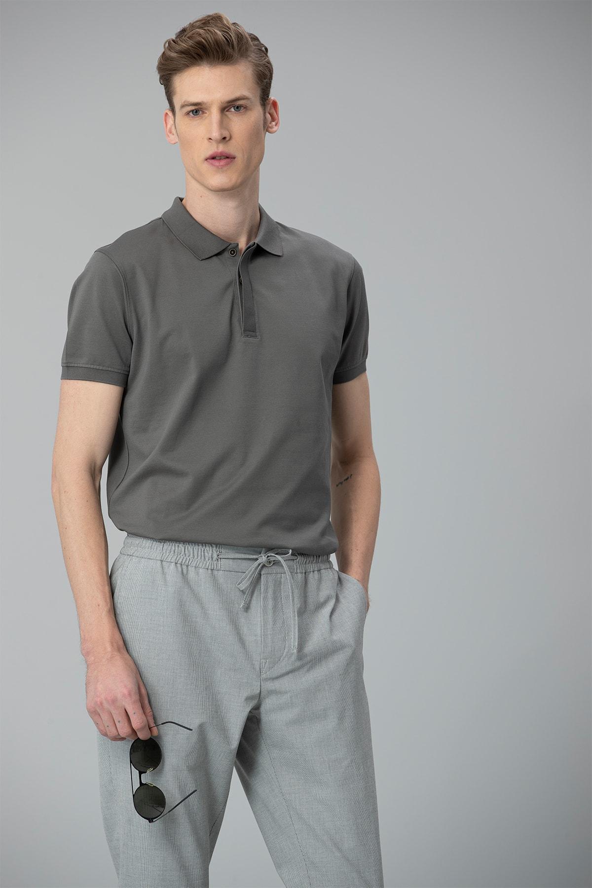 Lufian Biella Spor Polo T- Shirt Gri