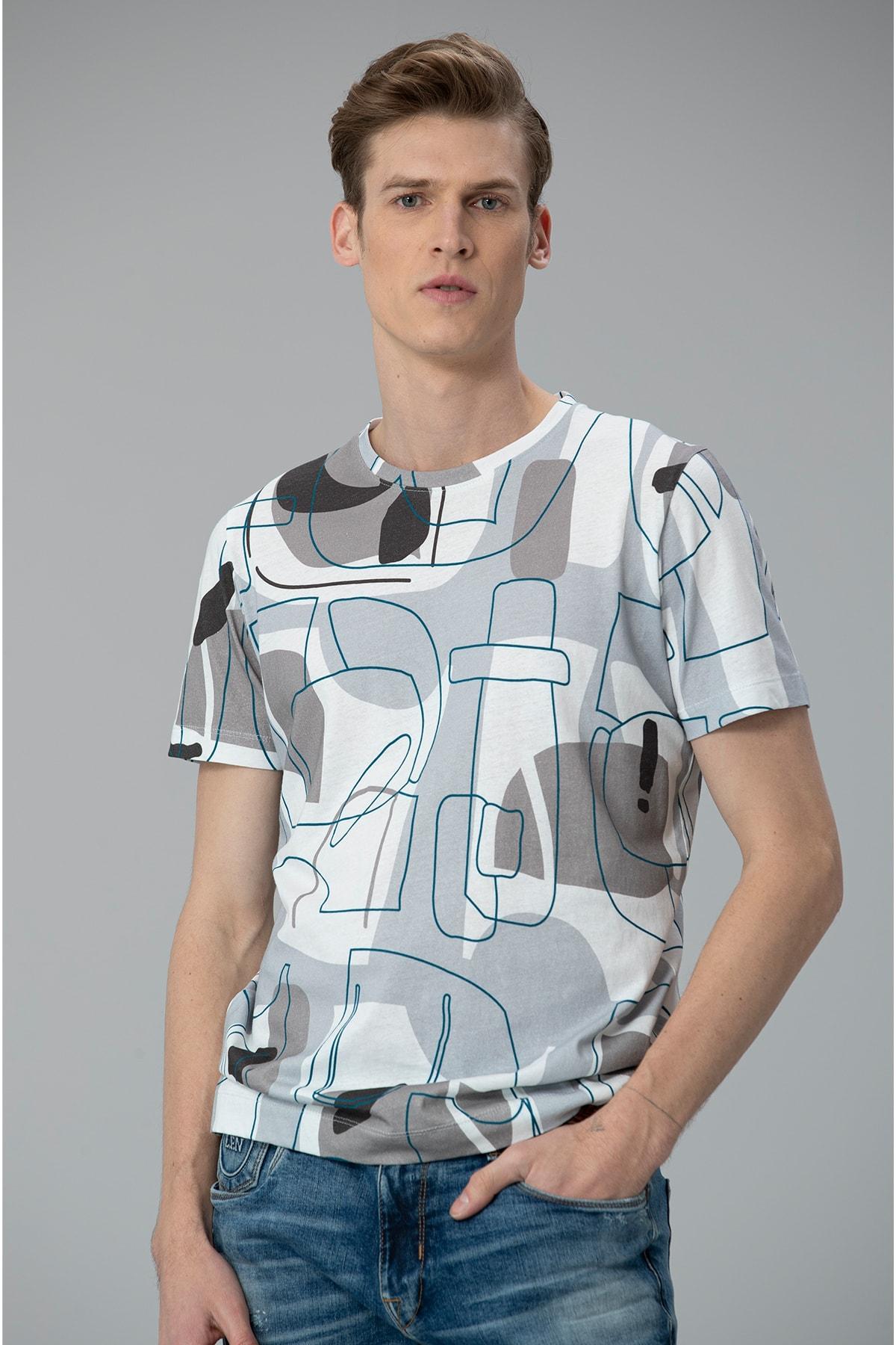 Lufian Steli Modern Grafik T- Shirt Gri