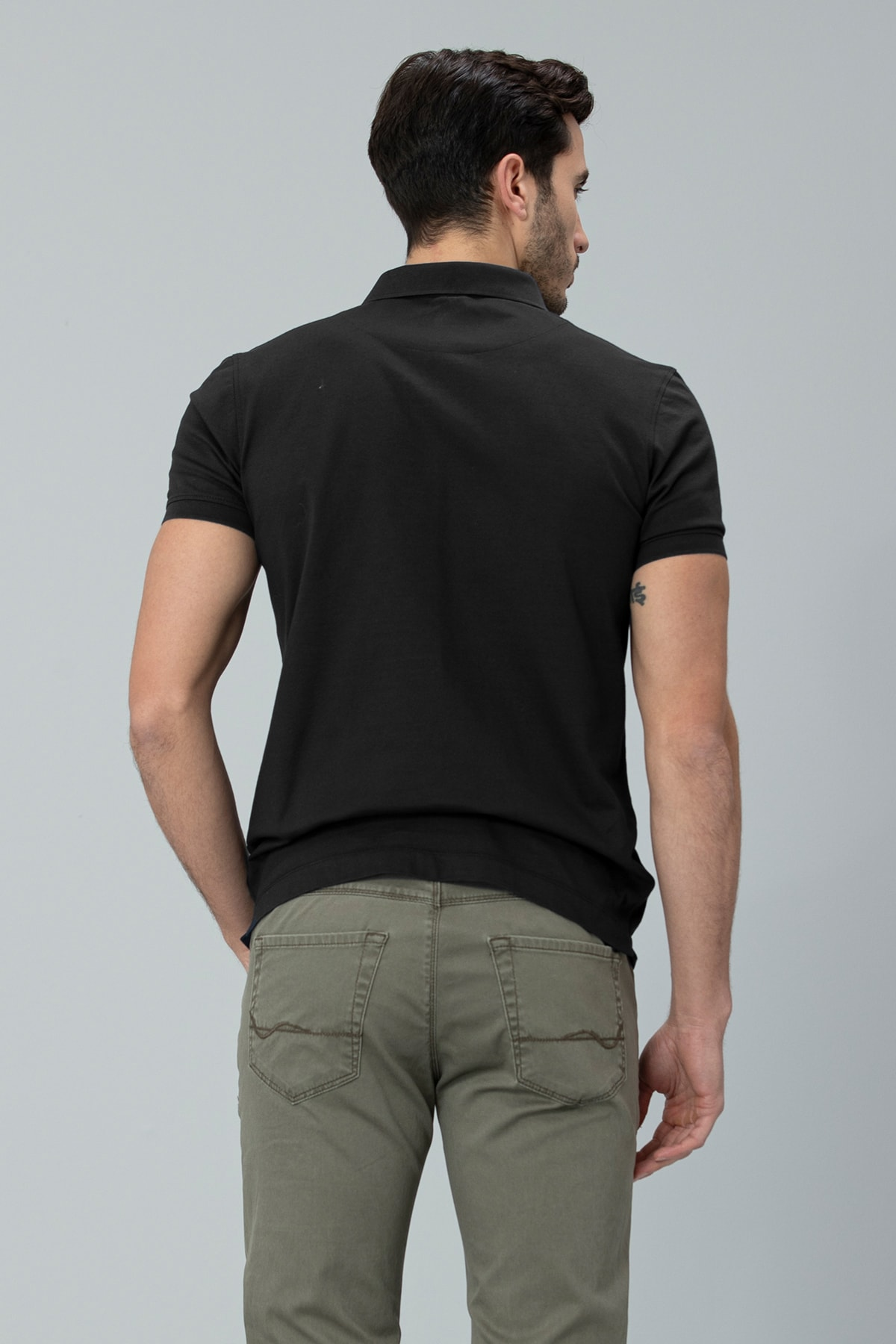 Lufian Alpaca Spor Polo T- Shirt Siyah