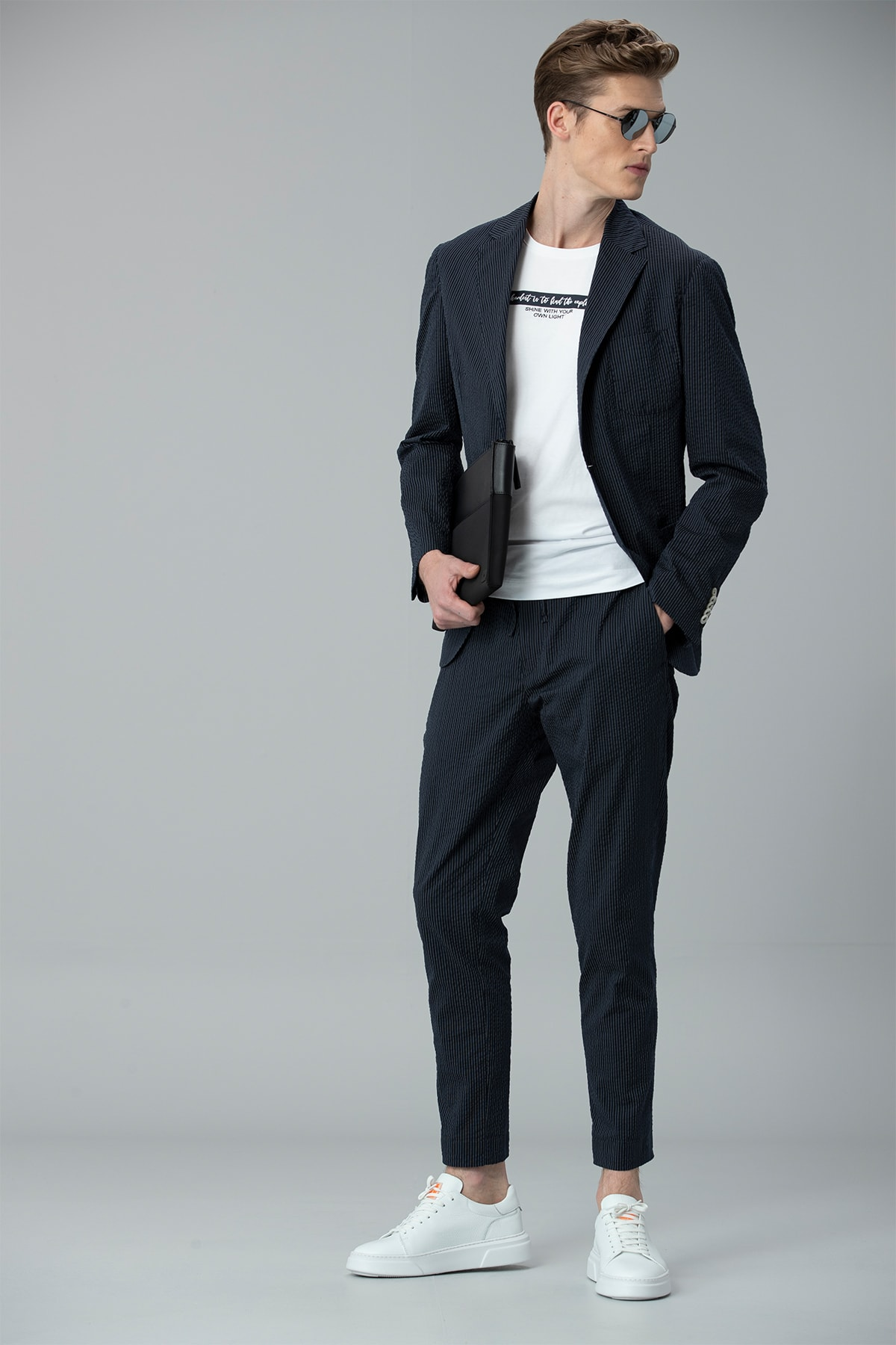 Lufian Monoba Smart Chino Pantolon Slim Fit Lacivert