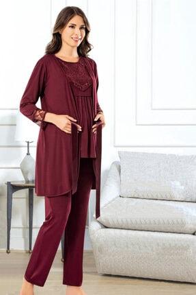 TAMPAP Kadın Bordo 3'lü Emzirme Detaylı Uzun Kollu Lohusa Pijama Gecelik Takımı 3845