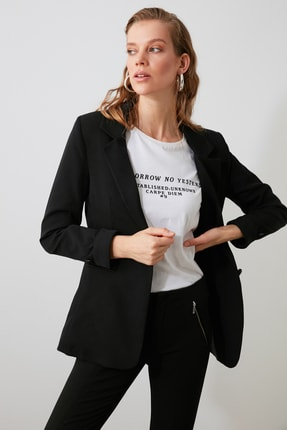 TRENDYOLMİLLA Siyah Düğmeli Blazer Ceket TWOAW21CE0318